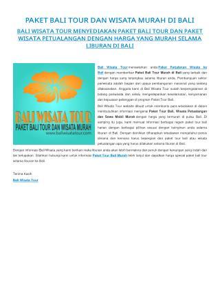 Paket Bali Tour dan Wisata Murah Liburan di Bali