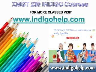 XMGT 230 Courses Tutorial / indigohelp