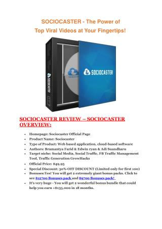 SocioCaster   review in detail and amazing bonuses with  100 items