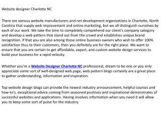 Website designer Charlotte NC