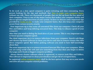 Online computer repair tips to make your computer faster