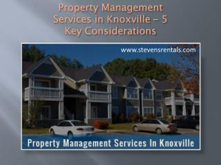 Property Management Services in Knoxville – 5 Key Considerations
