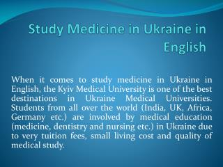 Study Medicine in Ukraine in English