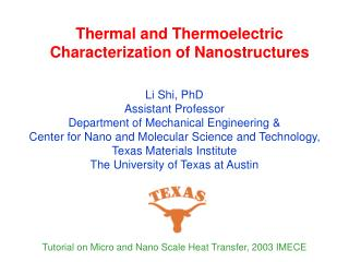 Thermal and Thermoelectric Characterization of Nanostructures