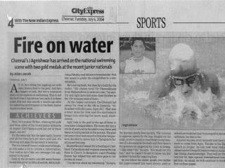 Swimmer Agnishwar - Fire on Water - City Express'04