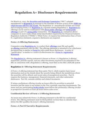 Regulation A  Disclosures