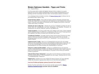 Binäre Optionen Handeln Tipps zur Risikominimierung
