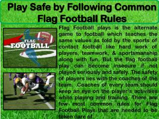 Play Safe by Following Common Flag Football Rules