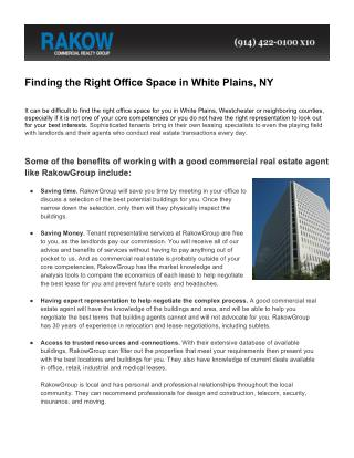 Finding office space in White Plains NY