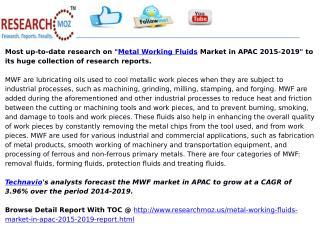 Metal Working Fluids Market in APAC 2015-2019