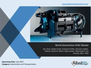 Automotive HVAC Market Size, Share, Growth, Demand, Opportunities and Forecasts 2014 -2020