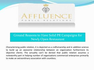 Ground Reasons to Have Solid PR Campaigns for Newly Open Restaurant