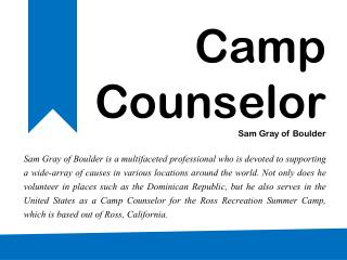 Peace Corps Volunteer - Sam Gray of Boulder