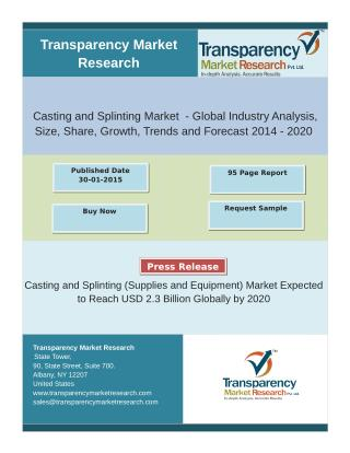 Casting and Splinting (Supplies and Equipment) Market Expected to Reach USD 2.3 Billion Globally by 2020