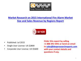 2015 International Fire Alarm Market Size and Sales Revenue by Regions Report
