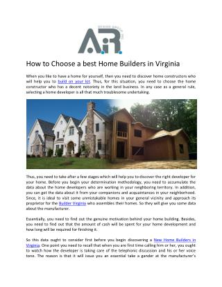 Custom Home Builders in Virginia