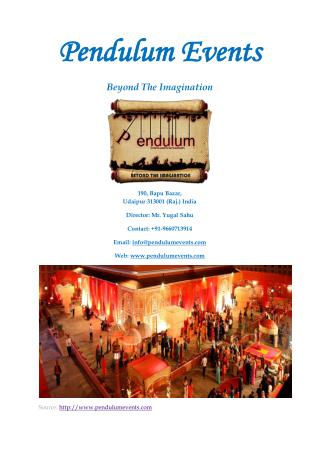 Pendulum events-Event Management and Wedding Planner Company in Udaipur