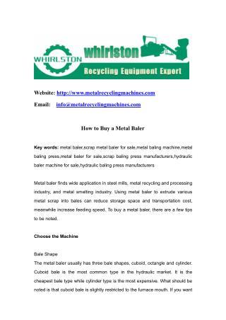 How to Buy a Metal Baler