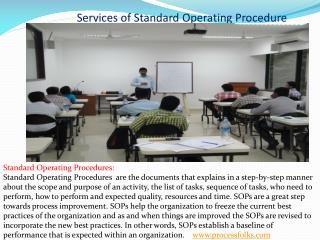 services of Standard Operating Procedure