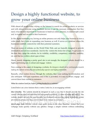 Design a highly functional website, to grow your online business