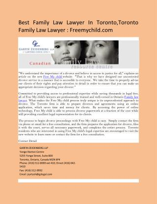 Family Lawyer In Toronto: Freemychild.com