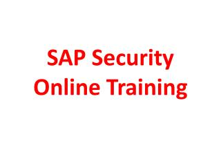 SAP Security Online Training | The best SAP Security Online Training