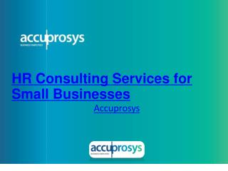 HR Consulting Services for Small Businesses