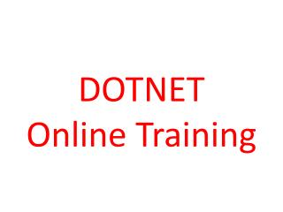 Best Dotnet Online training | Dotnet Online training
