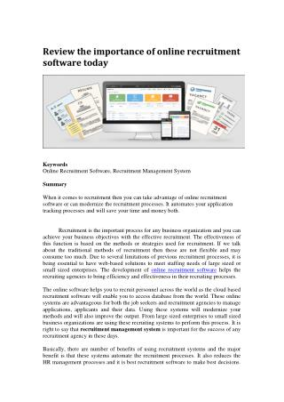Review the importance of online recruitment software today