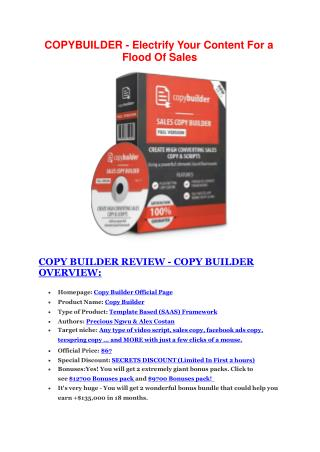 Copy Builder Review - Copy Builder DEMO & BONUS