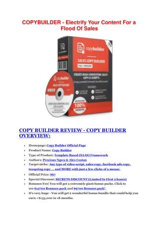 Copy Builder Review - Copy Builder DEMO & BONUS