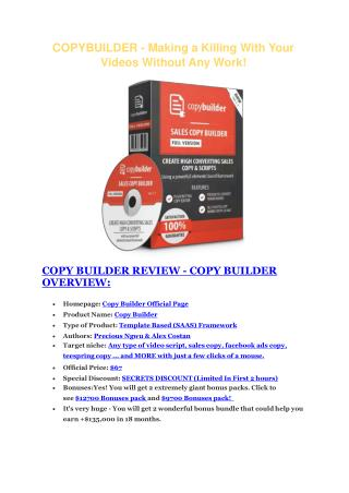 Copy Builder REVIEW & Copy Builder (SECRET) Bonuses