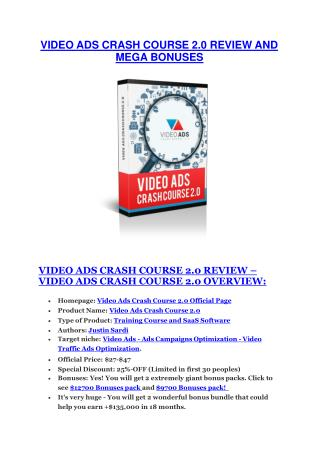 Video Ads Crash Course 2 Review-(FREE) $32,000 Bonus & Discount