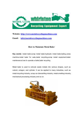 How to Maintain Metal Baler