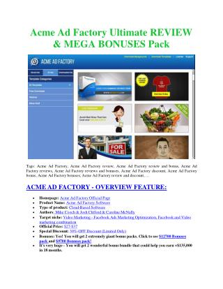 Acme Ad Factory Reviews and Bonuses-Acme Ad Factory