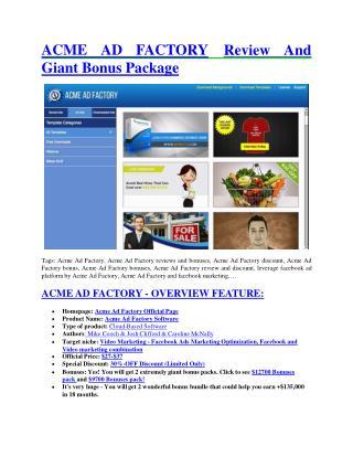 Acme Ad Factory review & (GIANT) $24,700 bonus