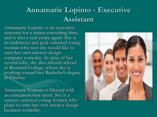 Annamarie Lopinto - Executive Assistant