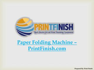 Paper Folding Machine – PrintFinish.com