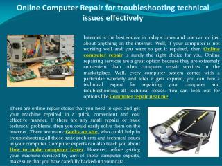 Online Computer Repair for troubleshooting technical issues effectively