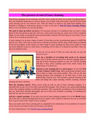 The process of end of lease cleaning