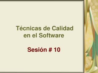 T cnicas de Calidad  en el Software  Sesi n  10