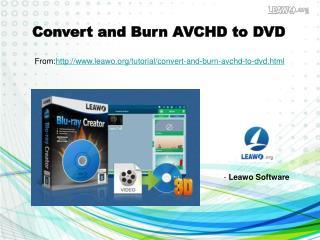 Convert and Burn AVCHD to DVD
