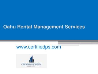 Rental Management Company in Oahu - www.certifiedps.com