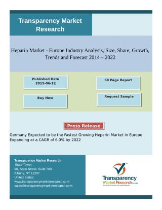 LMWH is the Dominant Heparin Product Market in Europe and is Expected to Reach USD 3.14 Billion in 2022