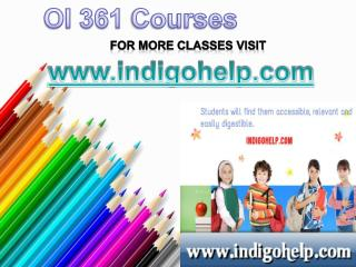 OI 361 Course Tutorial / indigohelp