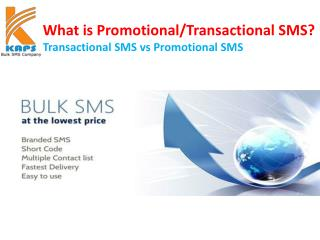 What is promotional and transactional SMS ?