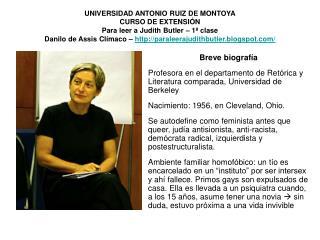 UNIVERSIDAD ANTONIO RUIZ DE MONTOYA CURSO DE EXTENSI N  Para leer a Judith Butler   1  clase Danilo de Assis Cl maco   p
