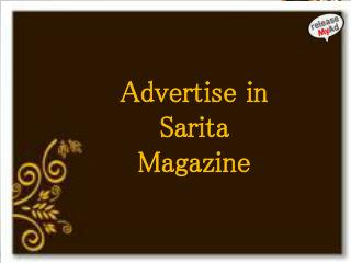 Effective Advertising In Sarita Magazine Through releaseMyAd