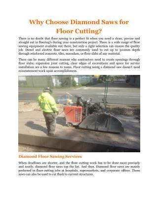 Why Choose Diamond Saws for  Floor Cutting?