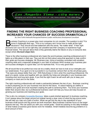 FINDING THE RIGHT BUSINESS COACHING PROFESSIONAL INCREASES YOUR CHANCES OF SUCCESS DRAMATICALLY